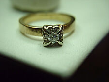 14K VINTAGE ENGAGEMENT RING  1/10 CTW DIAMONDS..WELL MADE WITH HEAVY BAND