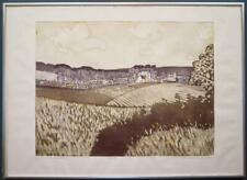 JOHN BRUNSDON limited edition FRAMED pencil signed Etching ABBOTSBURY DORSET