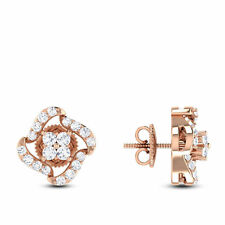 Pave 0.63 Cts Natural Diamonds Stud Earrings In Fine Certified 14Carat Rose Gold