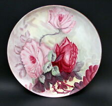 """13"""" Vintage Hand Painted Bavarian Hutschenreuther Plate Charger Magenta Roses"""
