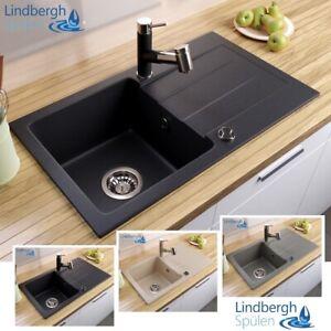 """LINDBERGH® Granit Spüle """"MEG"""" + Siphon Einbauspüle Küchenspüle Spülbecken"""