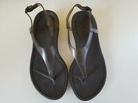 Ladies Crocs Brown Toe Post Flip Flop Sandals UK 7 Rubber Casual Pool Beach