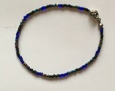 Seed Glass Bead Bracelet Anklet Blue Black Multi Stocking Filler Xmas Gift Idea