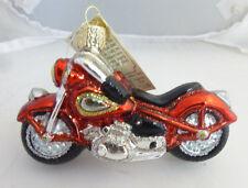 "Old World Christmas ""Motorcycle"" Harley Honda Yahama Blown Glass Ornament NWT"