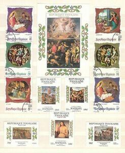 Weihnachten. Das Ostern. Zwei Sätze Briefmarken und Blöcke, Togo, mit den Bilder