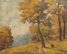 Antique Impressionist forest landscape oil painting signed