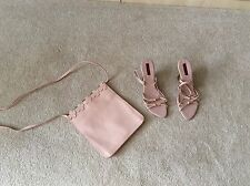 Lisa Vicky Woman's Pink Wedge Sandals Size 9 with matching bag Never Used