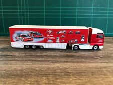 Majorette MAN Toyota Trailer Container Truck 1/87  Red Car Racing Diecast