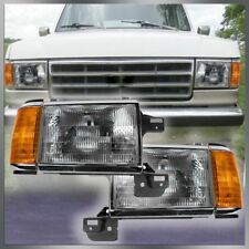 Headlights Headlamps w/ Chrome Trim Pair Set for 87-91 Bronco F-Series Truck