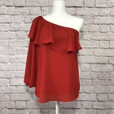 Halogen Women's One Shoulder Blouse Red Rust Orange Size Medium NWT D/9