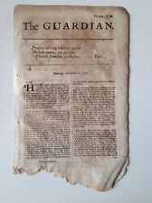 The Guardian, 12th September 1713 Antique Single Sheet Daily Newspaper, Rare
