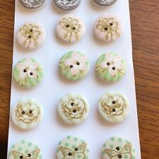 WOOD CRAFT BUTTONS- 2 HOLE PAINTED BUTTONS X 15 PACK (APPROX 20 MM)- VIVI GADE