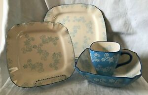 TEMPTATIONS ~ BLUE FLORAL LACE SQUARE TABLEWARE ~ YOU CHOOSE ~1 or ALL~1+ SHIP