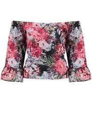 Waist Length Bandeau Casual Floral Tops & Shirts for Women