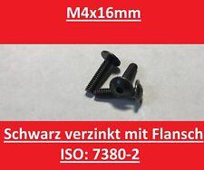 25Stk. : Linsenkopf Schrauben ISO 7380 2 Schwarz verzinkt M4 x 16mm mit Flanch