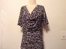 Womens WHITE And Black Blouse ANIMAL PRINT DRAPED NECK OPEN SLITS ON SHOULDERS