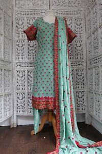 Sage green Indian Punjabi bollywood salwar kameez UK Size 12 / EU 38 SKU17783
