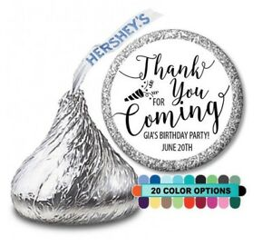 Thank you for coming! Birthday Party Personalized Party Favor Hershey Kiss Label