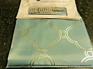 new 13 pc Teal blue silver geo design Fabric SHOWER CURTAIN silver hooks GLAM