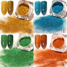 4box Nail Art holografische Laser Pulver Glitter Set Maniküre blau grünes Gold