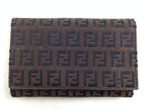 "Auth Fendi Zucca Canvas Bifold Wallet Brown 5E253430"""