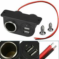 Car Cigarette Lighter Auxiliary Dual USB Power Outlet DC 12V Socket Plug Adapter