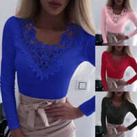 Women Sexy Shirts Lace V Neck Long Sleeve Solid Color Blouse Tops T-Shirts,