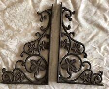 2 Cast Iron Antique Style Flower & Vines Brackets, Garden Braces Shelf Bracket