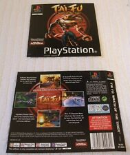 PLAYSTATION ONE GAME INLAY/ARTWORK COVERS  ** TAI FU - WRATH OF THE TIGER ** VGC