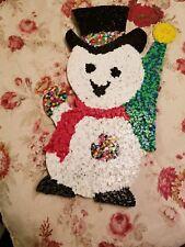 "Vintage Christmas popcorn plastic snowman with tree decoration 18"" X 9"""