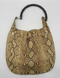 GUCCI Brown Python Bamboo Hobo Bag