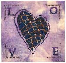 Turquoise Graphics Designs QUILTED HEART Cross Stitch Chart Only~ love/Velentine