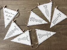 1 x Rustic/Shabby Chic floral Wedding Table Seating Plan Card - bunting shape