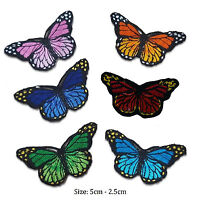 butterfly iron on patch badge red blue orange green pink