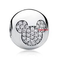 925 Sterling Silver CLIP Mickey Clear CZ Bead Fit European Charm Bracelet