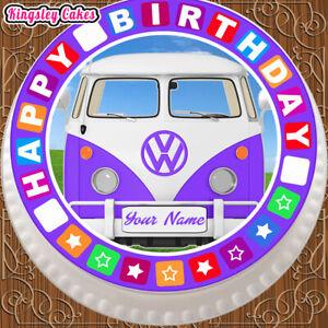 PRECUT EDIBLE ICING 7.5 INCH CAKE TOPPER PURPLE HAPPY BIRTHDAY  CAMPER VAN QP