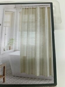 """NEW IN PACKAGE Threshold Natural Linen Shower Curtain White & Tan  72"""" x 72"""""""