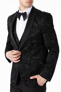 Jack Martin - Black Paisley Printed Velvet Dinner Jacket / Tuxedo