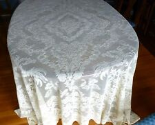 "Lovely Antique French Alencon Lace Tablecloth Mythologica Birds 102 x 84"""