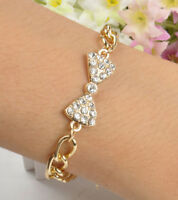 2014 Delicate Lovely Rhinestone Bow Crystal Gold Alloy Chic Curb Chain Bracelet