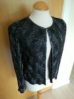 Ladies Jacket Size S 10 Black Beaded Smart Party Evening Cruise Opera Silk