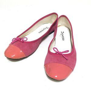 Auth REPETTO Flora V639D Suede Patent Leather Cap Toe Ballet Flats FR 39 EUC