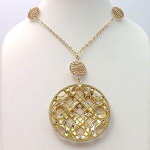 18k Tricolor Gold Filigree Quatrefoil Pendant Dangle Lariat Necklace 16gr New