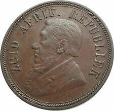1898 SOUTH AFRICA President Johannes Kruger Genuine Antique Penny Coin i79524
