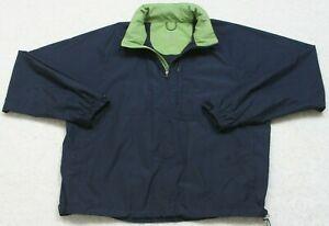 Eddie Bauer Blue Green Jacket Coat Large Zip Up Mens Mans Long Sleeve Polyester