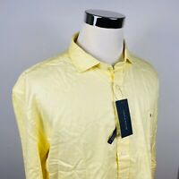 NWT Tommy Hilfiger Mens 2XL 100s 2 ply Shirt Yellow Striped Cotton Casual