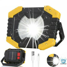 100W Solar LED Work Light USB Rechargeable Camping Tent Night Torch Flood Lamps
