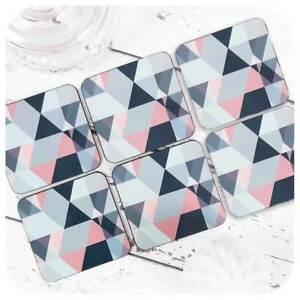Scandi Geometric Coasters, Blush Pink and Grey Home Decor, Dusty Pink Kitchen