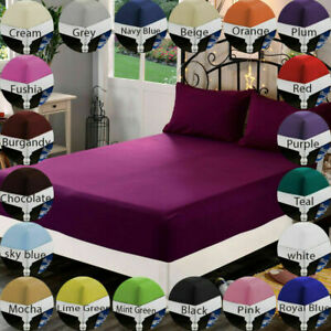 Extra Deep Finest Quality Fitted Bed Sheets Bedroom Single Double King Superking
