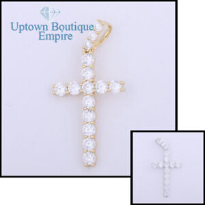 Wedding Clear Crystal Cross Men Women's 925 Sterling Silver Pendant Charm*BA